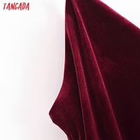 Tangada Women's Party Dress Red Velvet Midi Dress Strap Adjust Sleeveless 2021 Korean Fashion Lady Elegant Dresses QN45 3