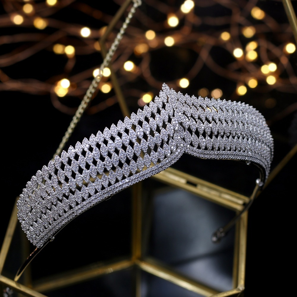 Hibride роскошь повязка благородный AAA кубический циркон короны и диадемы для невесты блестящие аксессуары для волос для свадьбы, ювелирные из... - 2