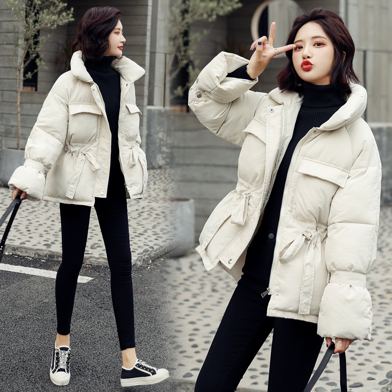 2020 New Winter Hooded Long Sleeve Solid Color Black Cotton-padded Warm Loose Big Size Jacket Women Parkas Fashion Outwear