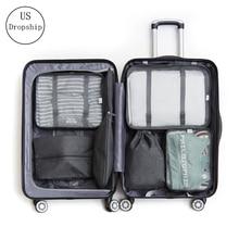 New 7pcs/set Nylon travel organizer bag waterproof men clothes 6pcs/set Cubes Packing Organizers women storage Luggage