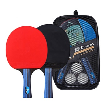 2PCS Ping Pong Table Tennis Blade Bat Set Professional Rubber Long Short Handle Ping Pong Racket Paddle with 3 Balls 1 Carry Bag