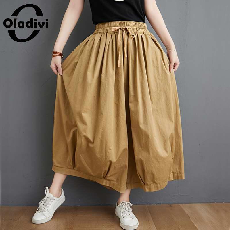 Oladivi Oversized Plus Size Women Big Leg Pocket Capris Fashion Lady Midi Pant Casual Loose Straight Trouers Black Khaki 5XL 4XL