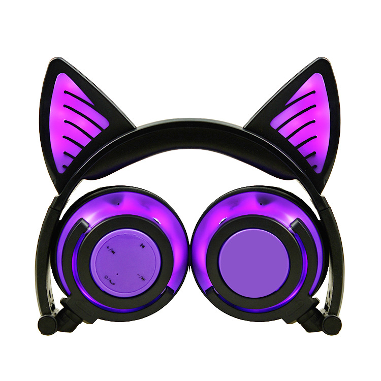 TEAEGG Purple Foldable Integrated Light For Iphonexs Universal Wireless <font><b>Bluetooth</b></font> 5.0 Earphones Earbuds <font><b>Cat</b></font> Ear Headsets image