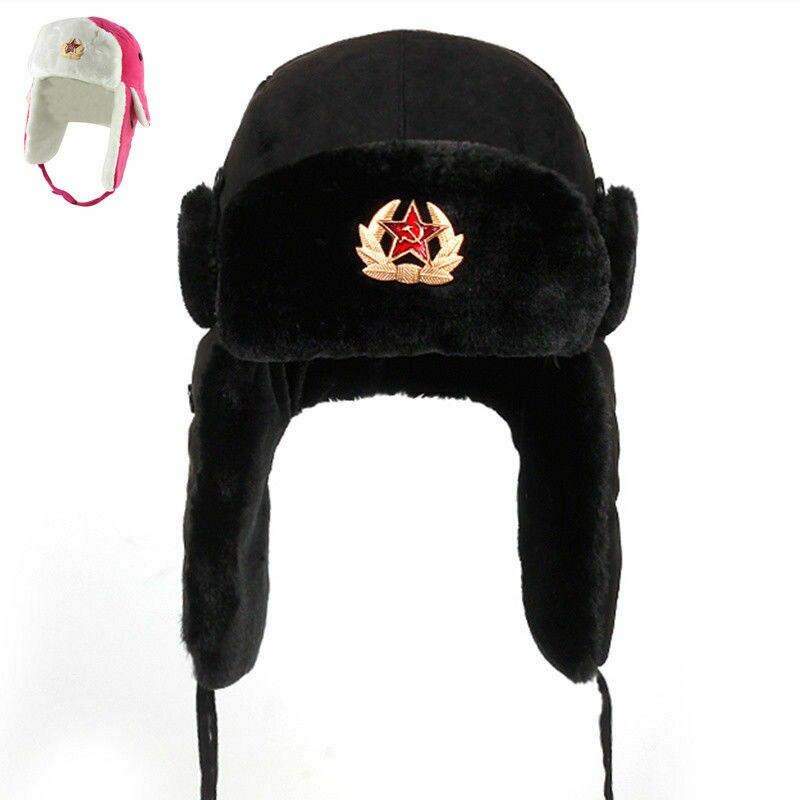 Russian Winter USHANKA FUR HAT White w Genuine USSR Soviet Army cap badge Size M