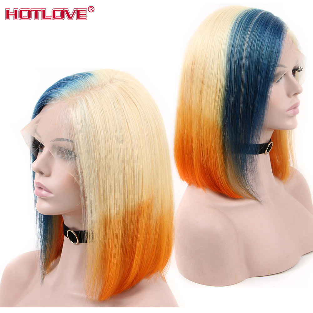 13x4 Lace front Human Hair Wigs Brazilian Short Bob Colorful 613 blue Orange Mixed Lace Front Wigs Straight Hair Wigs Remy Hair image