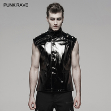 PUNK RAVE Men's Military Black Cool Bright Lacquer Leather Waistcoat Performance Party Gothic Tank Vest Top Men Sleeveless Shirt