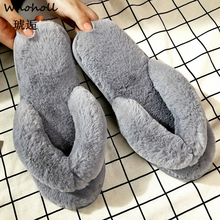 Winter Slippers Woman Flip Flops Home Slippers Warm Slip On Women Casual Shoes Flats Fur Female Slides Indoor Slippers Plus Size couple slippers fur slides for men women indoor slippers female winter plush insole rubber sole comfort cotton shoes flip flops