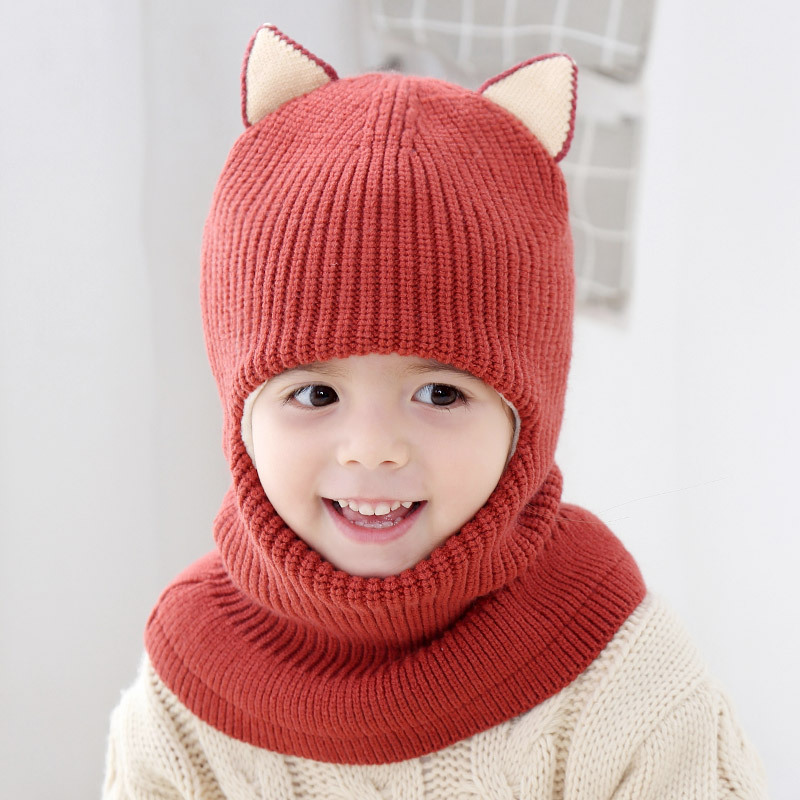 2020 Hot Winter Children Hats Knitted Baby Girls and Boys Hat with Warm Fleece Lining Cute Cat Ears Hats for Kids