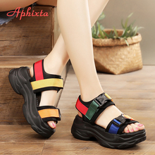 Aphixta 2020 Canvas 6cm Platform Heel Buckle Sandals Summer Women Students Girls