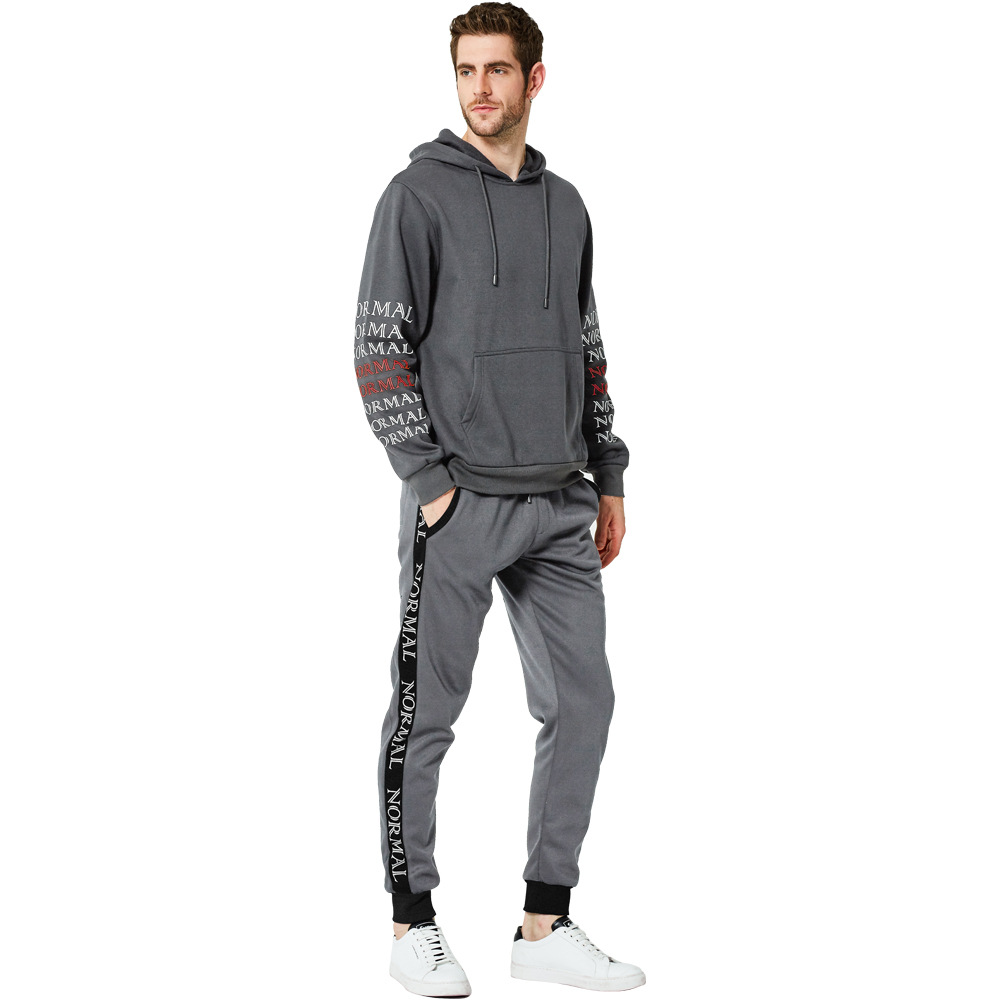 Autumn And Winter New Style Plus-sized Menswear Set Casual Sports Two-Piece Set Teenager Printed Hoodie Suit