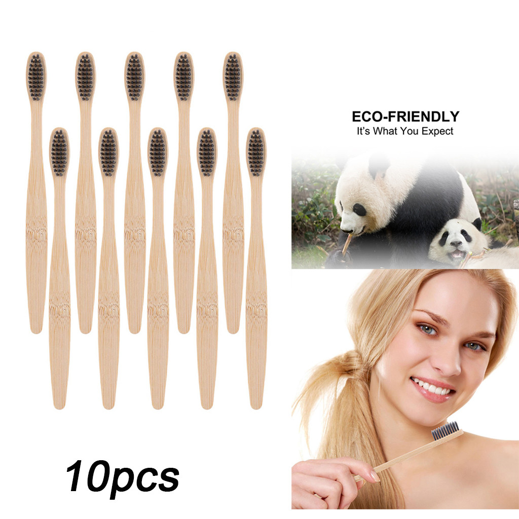 Toothbrush Natural Bamboo Handle Rainbow Whitening Organic,Biodegradable Adult Toothbrush with Soft Oral Care BPA-Free image