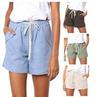 Pantalones cortos informales para mujer, ropa de calle de Color liso con cordón, cintura elástica, holgados y con bolsillos