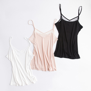 Image 2 - Natural silk plus size camisoles for women lingerie top sexy femme undershirt women tank top Camis white halter top