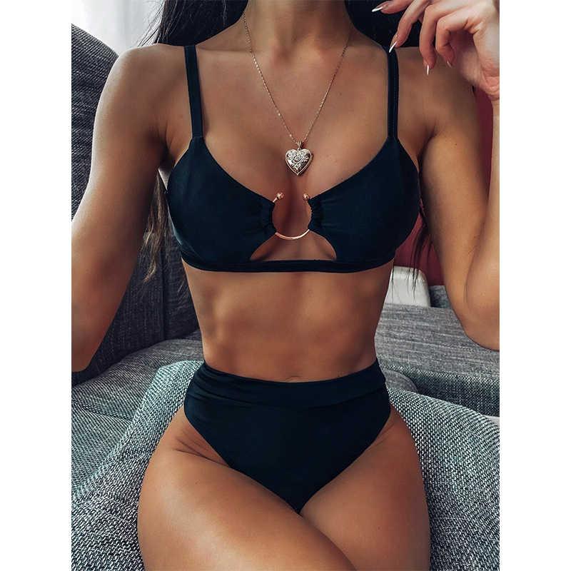 Novo biquíni sensual de cintura alta, moda praia feminino, push up, estampado, conjunto de roupa de praia brasileira, 2020