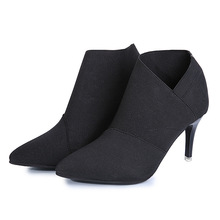 Thin High Heel Boots Female Ankle Boots Ladies Fashion Suede Women'S Boots Pointed Toe Shoes Brands Names Women Autumn Boots цена
