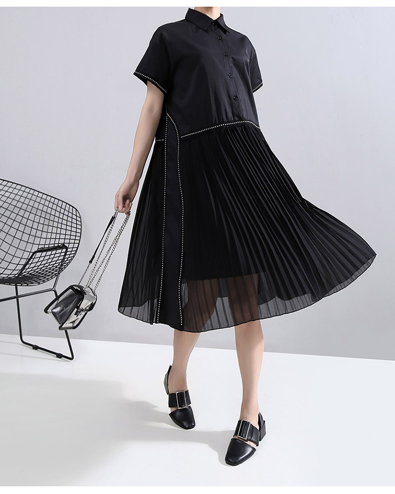 New Fashion Black Pleated Chiffon Hem Lapel Shirt Dress