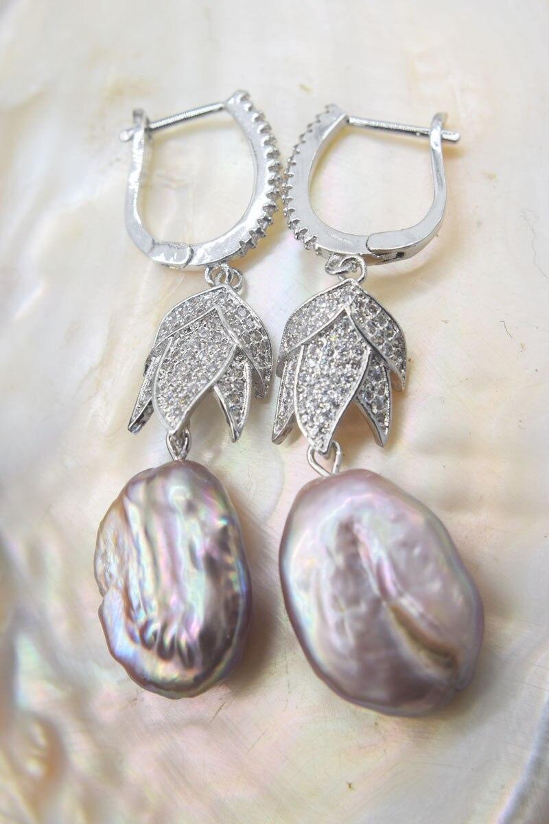 Pendientes de gancho barroco de óvalo plano púrpura, perlas keshi de agua dulce, venta al por mayor, FPPJ, un par