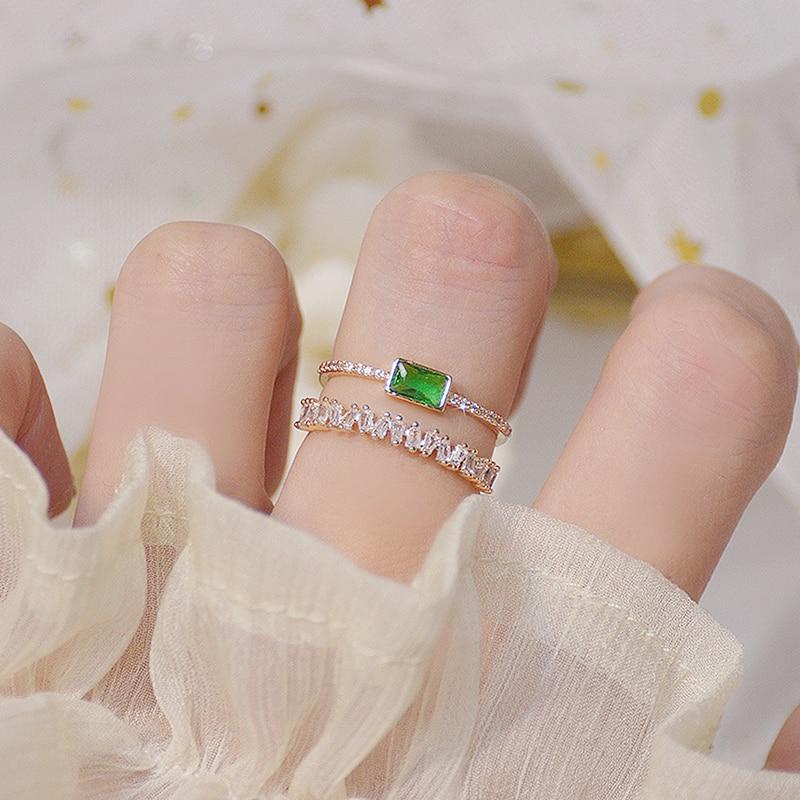 Bohême vert émeraude cristal femmes anneau Double couches Transparent Zircon élégant Bague Anillos briller bijoux de mariage de mariée