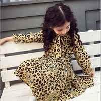 girl dress 2021 spring cartoon casual full sleeves Leopard Print kids children girls princess dress pink yellow blue 2-13 years