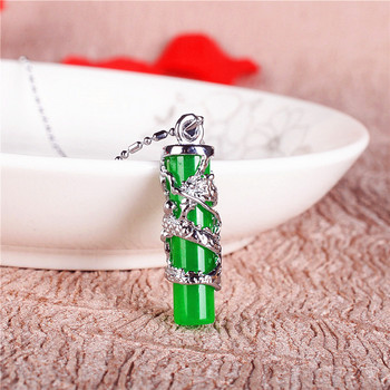 Pendentif Dragon en Jade vert naturel collier en argent 925 breloque sculpt e bijoux de mode