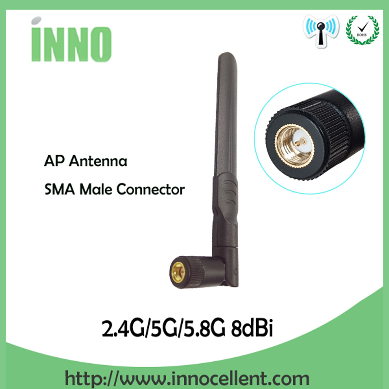 2.4 GHz 5.8 Ghz 5G wifi Antenna 2.4ghz 8dBi SMA Male Connector Dual Band 2.4G 5.8G 5G wi fi Antenne wireless router antena-in Communications Antennas from Cellphones & Telecommunications