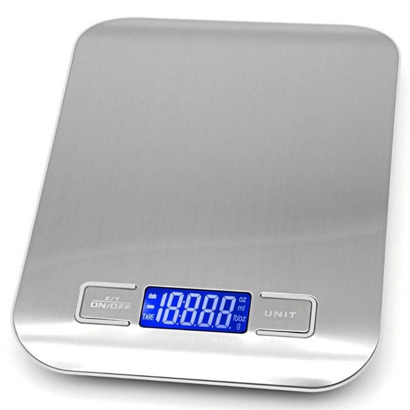 ميزان مطبخ 5 كجم من الفولاذ المقاوم للصدأ LCD ميزان إليكتروني رقمي OZ/ML/LB/G وحدة مقياس توازن الحمية الغذائية أدوات قياس
