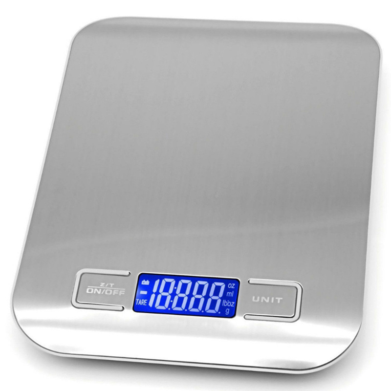 5Kg Kitchen Scale Stainless Steel LCD Digital Electronic Weighing Scales OZ/ML/LB/G Unit Food Diet Balance Scale Measuring Tools