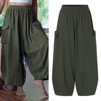 VONDA Vintage Casual Loose Long Trousers Fashion Women Solid Wide Leg Pants Autumn Elastic Waist Pantalon Cotton Palazzo S-5XL 9