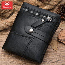 Cowhide men's Wallets Male Purse Short Genuine Leather Zipper Coin Purse Wallet Card Holder Fine  ASBD008