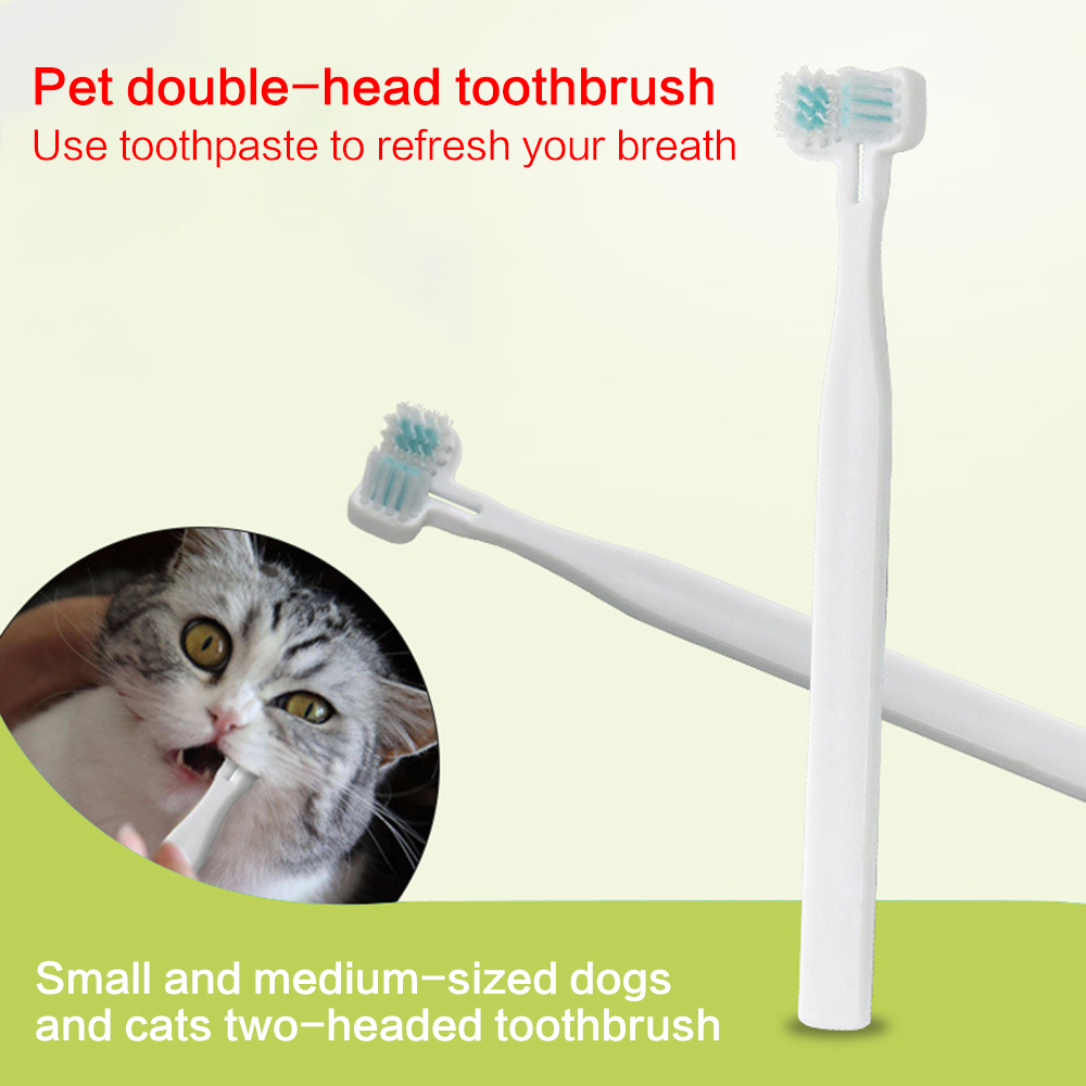Pet Cat Toothbrush Double Heads Teeth Brushing Multi-angle Cleaning Pet Breath Freshener Oral Care For Dog Cat Dropshipping