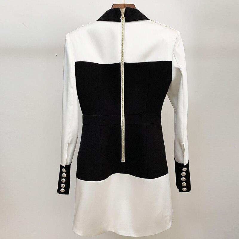 Image 3 - HIGH STREET 2020 Newest Designer Dress Womens Long Sleeve Color  Block Patchwork Shirt Collar Lion Buttons DressDresses