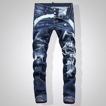 European Nightclub style famous brand jeans luxury Men straight denim trousers Patchwork Slim blue jeans Pencil Pants for men