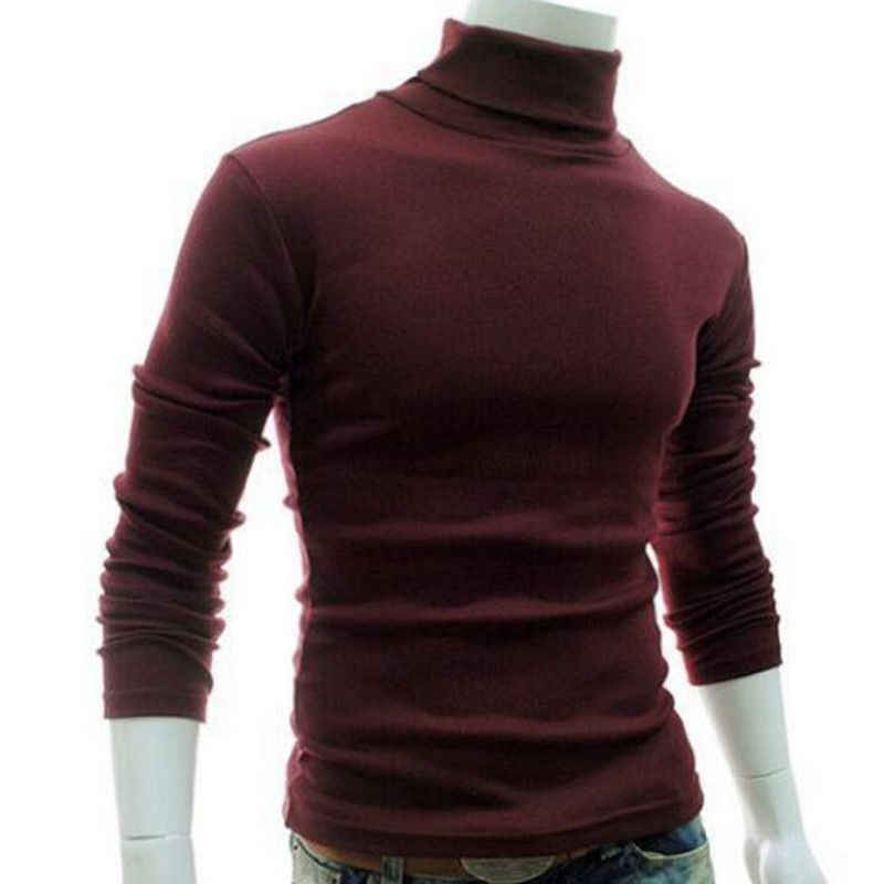 Hot Sale 6 Warna Pria Roll Leher Lengan Panjang Kasual Solid Top Fashion Pria Turtle Neck Basic T-shirt Pakaian M-2XL