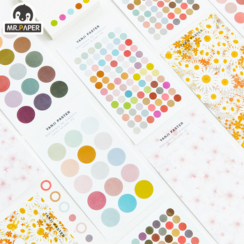 цена на Mr.Paper 4 Designs Color Spot Washi Diary To Do List Gilding Decorative PET Sticker Scrapbooking Sticky Label Diary Stationery