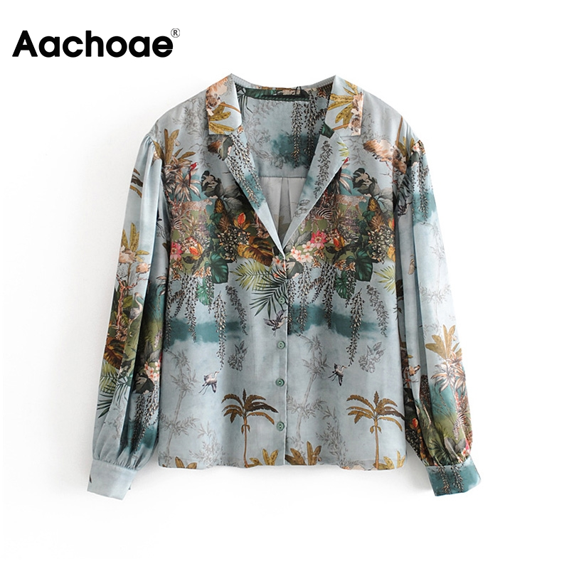 Aachoae Women Casual Floral Print Satin Blouse Casual Loose Tops Ladies Turn Down Collar Lantern Long Sleeve Vintage Shirt Blusa