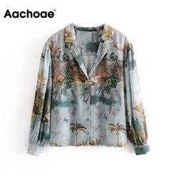 Aachoae Женская Повседневная атласная блузка с цветочным принтом, повседневные свободные топы, Женская винтажная рубашка с длинным рукавом и о...