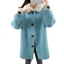 Autumn Imitation Mink Velvet Solid Turn-collar Women Coats Korean Elegant Long Sleeve Knitting Outerwear Loose Ladies Clothes