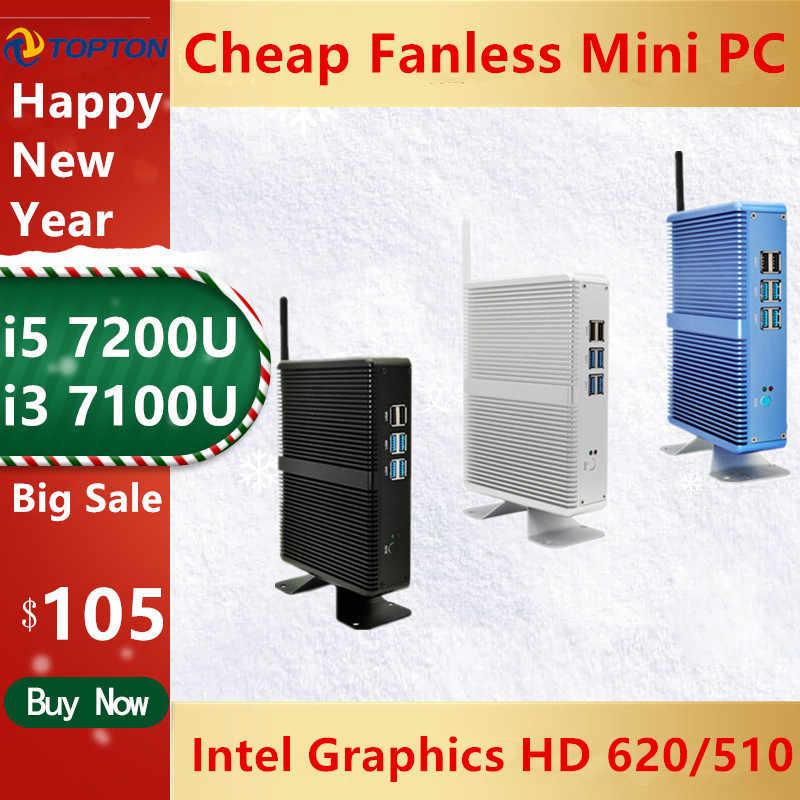 Topton NUC Intel Core i5 7200U i3 7100U DDR4 16GB Mini PC bez wentylatora komputer Linux Windows 10 HD grafika 620 4K HTPC HDMI VGA