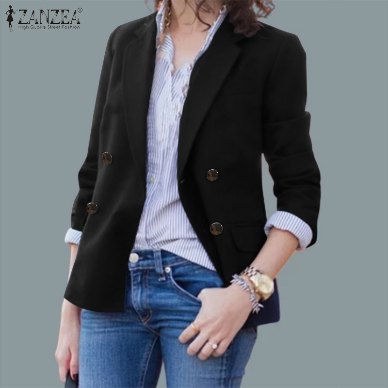 ZANZEA Women Turndown Collar Buttons Office Work Blazer 2020 Fashion Lady Casual Solid Jackets Thicken Pockets Spring Outwear