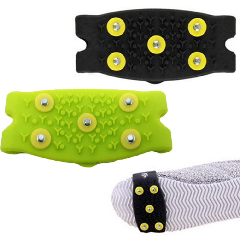 1 pair 5-Stud Snow Ice claw Climbing Anti Slip Spikes Grips Crampon Cleats Shoes Cover for women men Boots Cover size 35-43