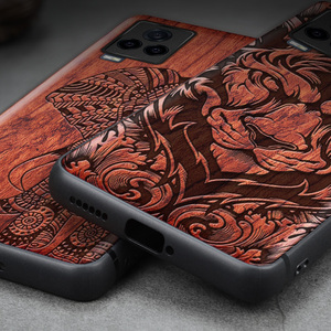 Image 5 - Carveit Wooden Cases For VIVO iQOO 7 Real Wood Covers TPU Silicone Shell 3D Carved Thin Accessories Protective Luxury Phone Hull