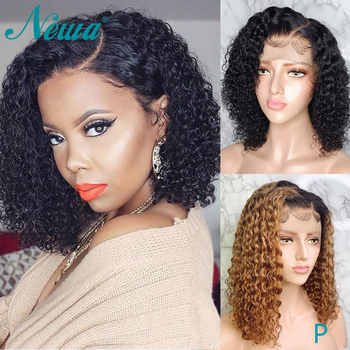 Newa Hair 13x6 Curly Lace Front Human Hair Wigs Pre Plucked Brazilian Ombre Lace Front Wigs With Baby Hair 150% Remy Bob Wigs - DISCOUNT ITEM  40% OFF All Category