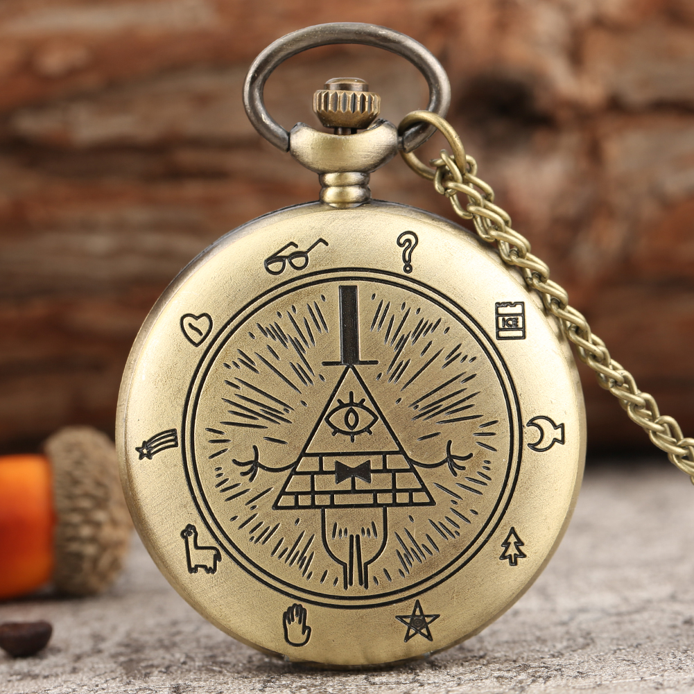 Vintage Bronze Weird Town Triangle One-eyed Demon Theme Pocket Watch Necklace Chain Clock Hours Gifts For Men Women Reloj Hombre