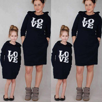 Family Matching Outfits Mother Girl Girls Matching Hooded Long Sleeve Letter Dress Clothing Outfit Party Cotton Soft Dresses