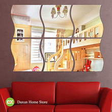 1set Acrylic Dressing Mirror Sticker Wavy Shape Wall Stickers for Home Decoration Espejos Decorativos Para Paredes Free Shipping