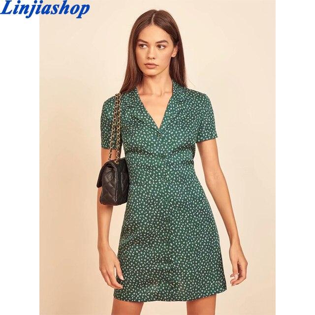 Palace Short Sleeve Women Dress Elegant Turn Down Collar Dresses Vintage Floral Print Mini Vestidos 1