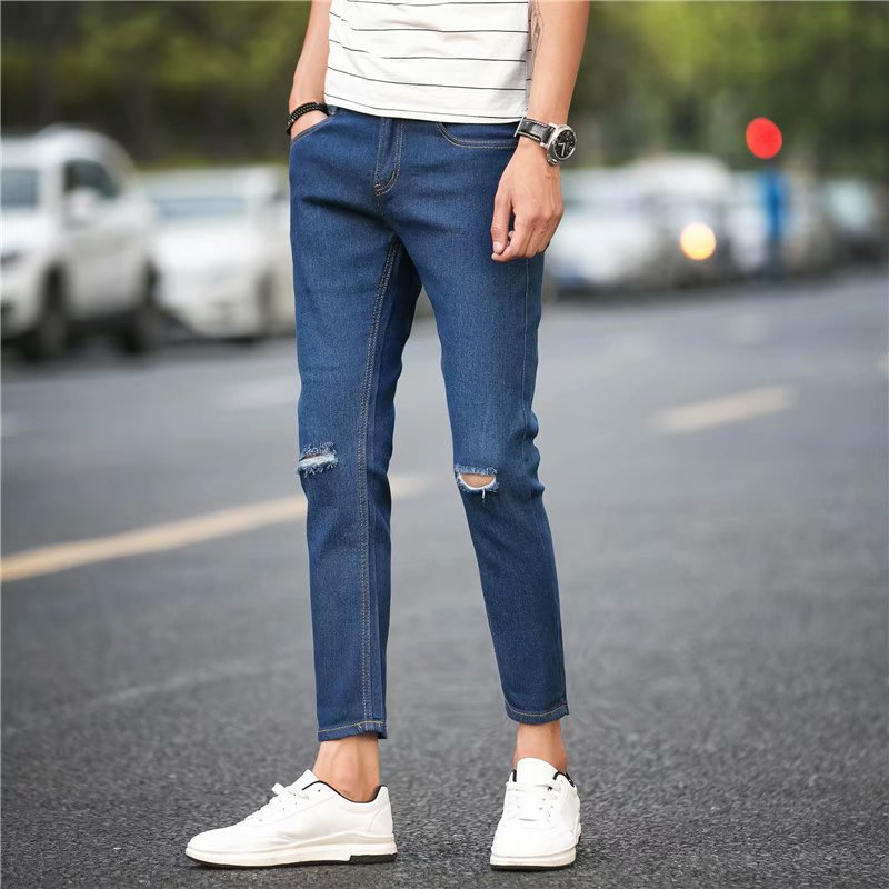 Summer Popular Brand Men New Style With Holes Jeans Loose-Fit Skinny Korean-style Trend Teenager Casual Pants