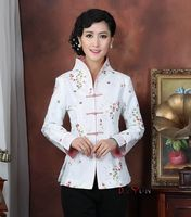 Middle aged woman jacket elegant white sequins embroidered collar lapel Tang suit mother ethnic style Chinese style jacket