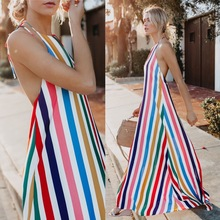 Europe Style Summer Maxi Stripe Long Dress V Neck Hater Backless 2019
