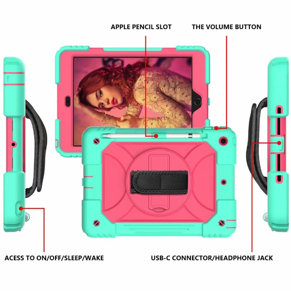 Generation Stand Strap Rotating For Holder Case 360 Pencil 7th Hand Cover iPad iPad For